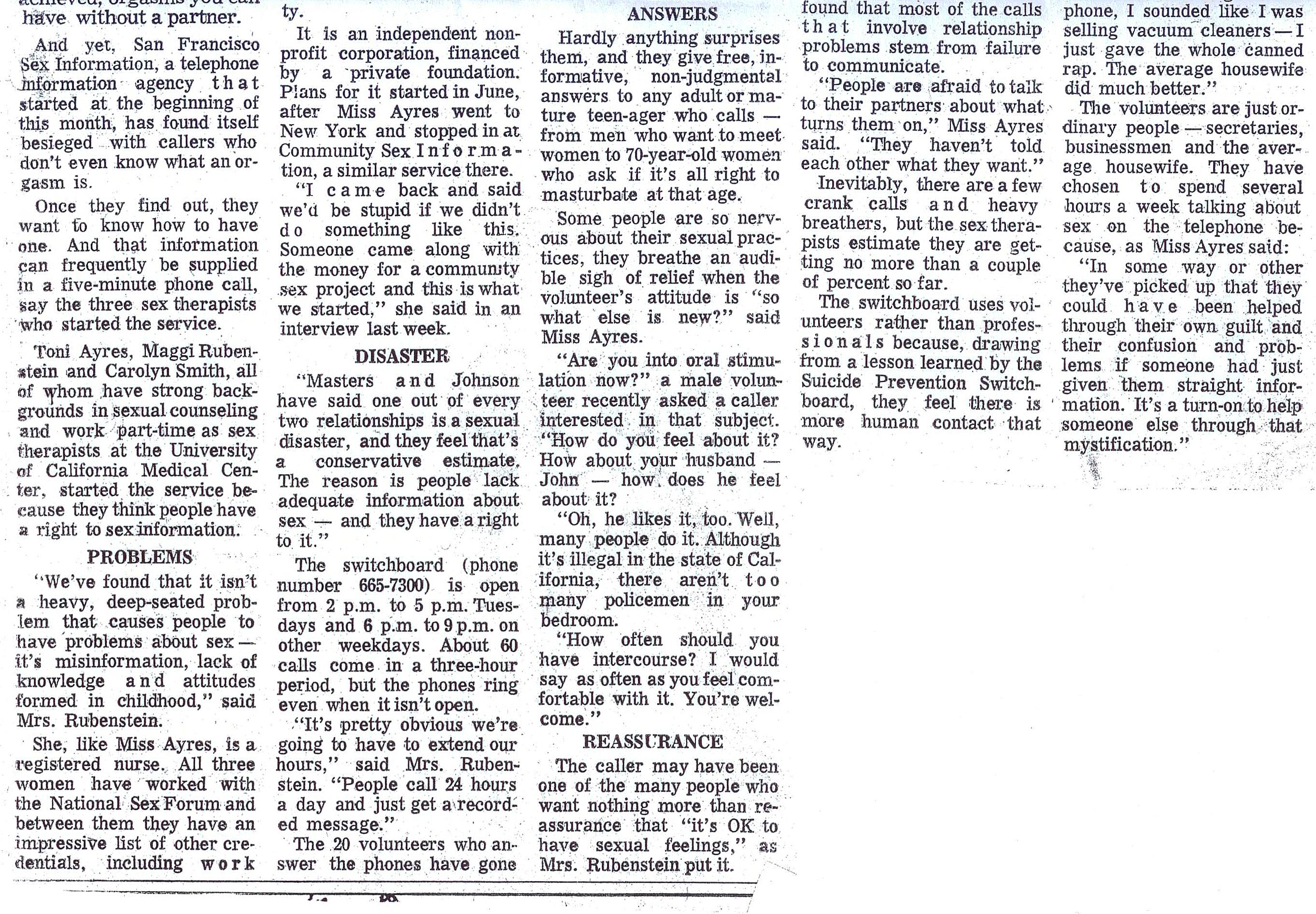1972 SF Chronicle Article on SFSI's Founding