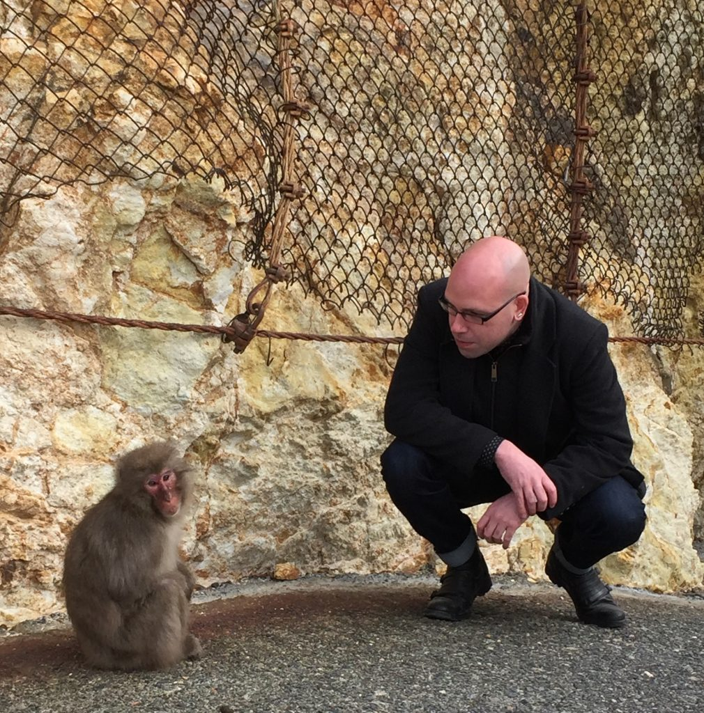 David confronting a monkey